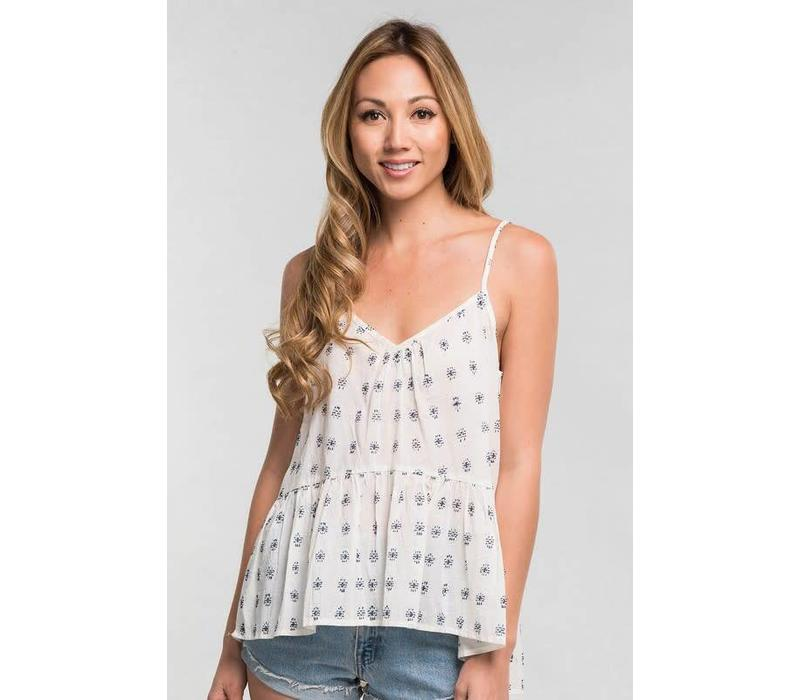 Embroidered Ruffle Cami