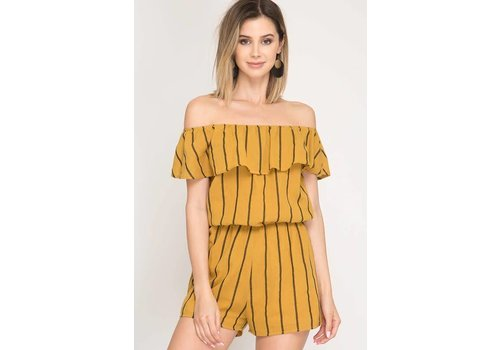 She + Sky Mustard Striped Romper