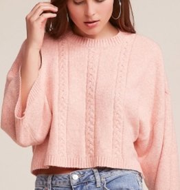 Jack by BB Dakota Extra Whip Crop Cableknit Sweater