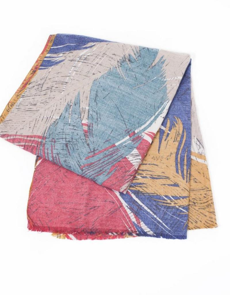 Look By M Red Cashmere Blended Feather Print Scarf