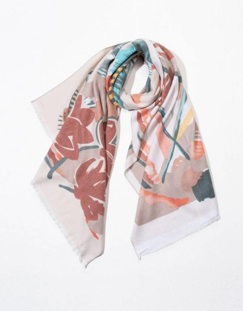 Look By M Cashmere Blended Floral Painting Scarf