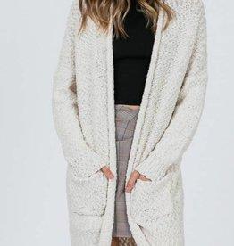 Bubble Knitted Draped Long Cardigan
