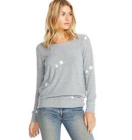 Chaser White Star Long Sleeve Pullover