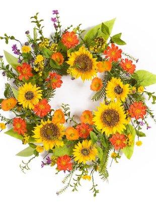 Mixed Summer Sunflower Wreath