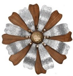 Galvanized Wood Wall Flower