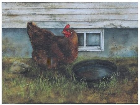 Chicken in Grass Box Print