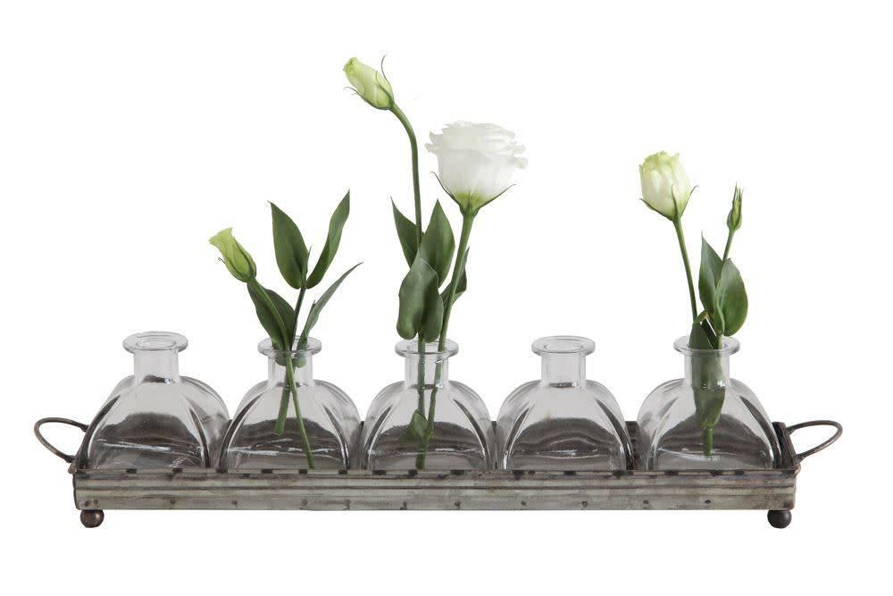 5 Vase Set w/ Galvanized Tray