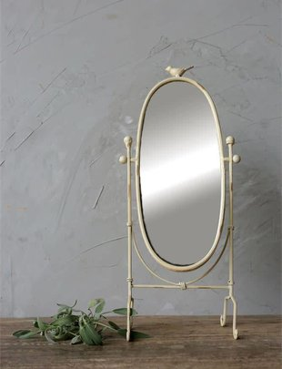 Cream Vanity Mirror w/ Bird