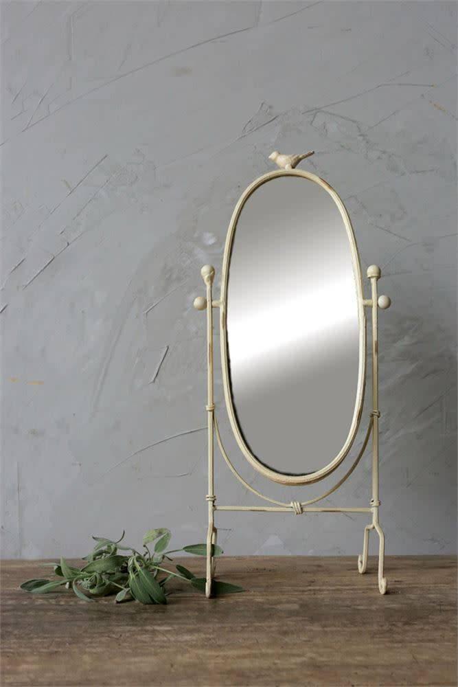 Cream Vanity Mirror w/ Bird