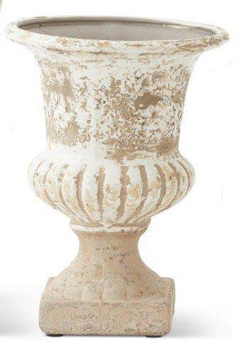 Cream & Tan Distressed Urn