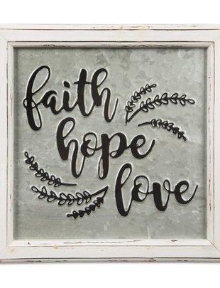 Faith Hope Love Embossed Sign