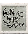 Faith Hope Love Embossed Sign