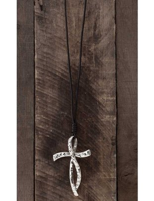 Silver Textured Cross Necklace