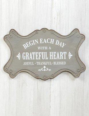 Grateful Heart Gray Metal Sign