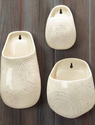 Cream Speckled Aztec Wall Planters (3 Sizes)
