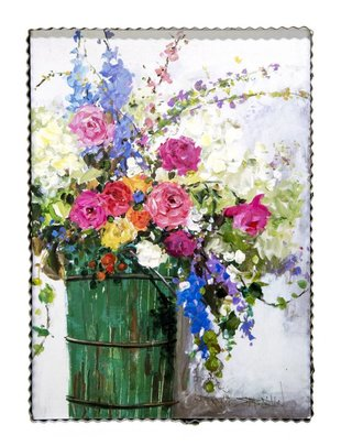 Bucket of Flowers Painted Print