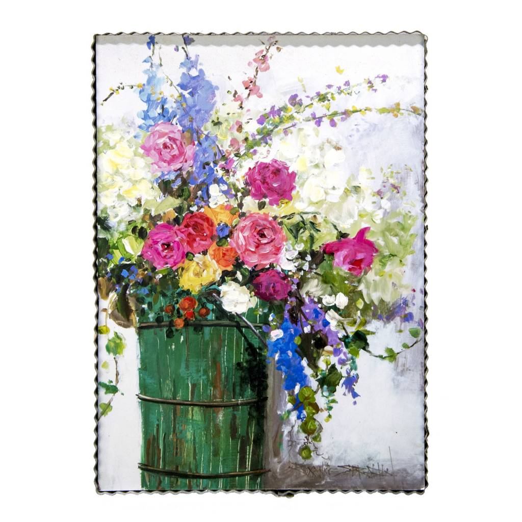 Bucket of Flowers Painted Print