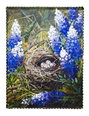 Bluebonnet & Quail Nest Painted Print