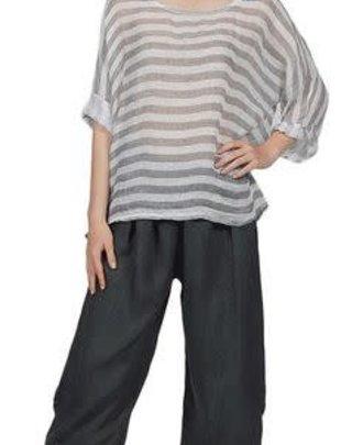 White Stripe Linen Top