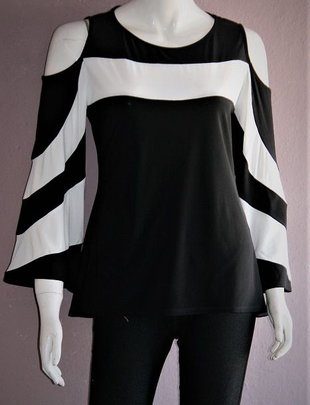 Cold Shoulder Black & White Bell Sleeve Top