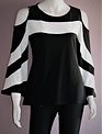 Cold Shoulder Black & White Bell Sleeve Top