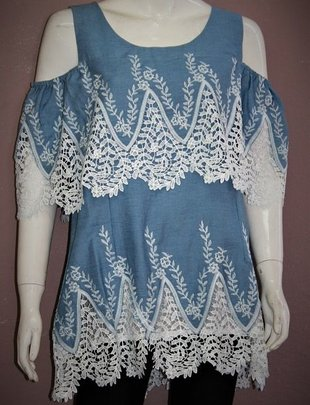 Denim & Lace Cold Shoulder Tunic