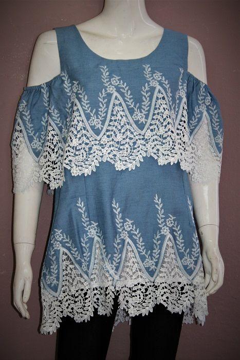 Denim & Lace Cold Shoulder Tunic