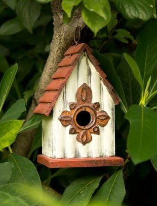 Cream & Burgundy Distressed Wooden Birdhouse