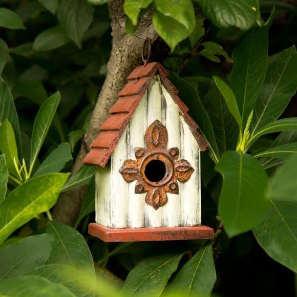 Cream & Burgundy Distressed Wooden Birdhouse