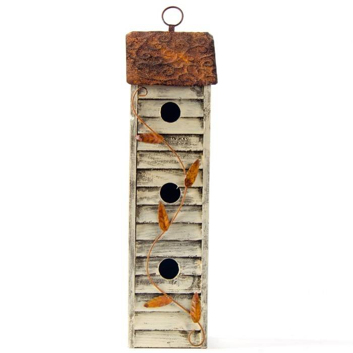 3 Story Distressed Wooden Birdhouse