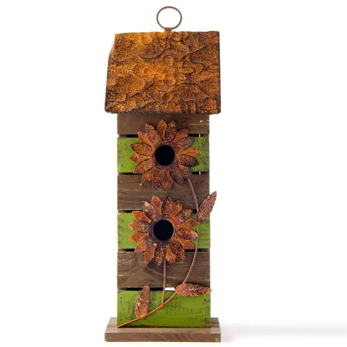 2 Story Striped Wooden Birdhouse