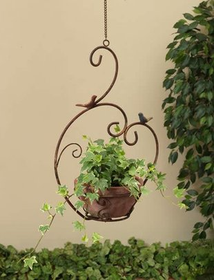 Hanging Rustic Bird Planter w/ Pot