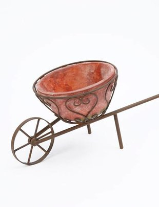 Metal Cart w/ Terra Cotta Planter