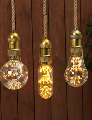 Battery Operated Hanging Light Bulb Fixture (3 Styles)