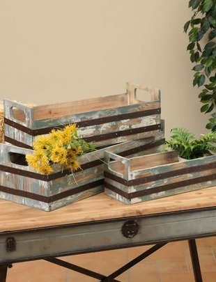 Metal Striped Wooden Crate