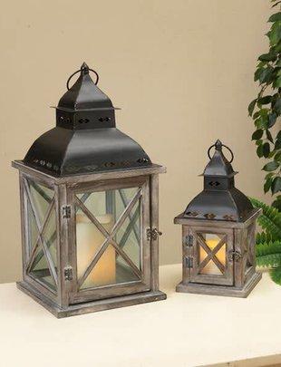 Criss Cross Pane Wooden Lantern (2 Sizes)