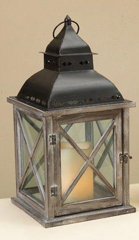 Criss Cross Pane Wooden Lantern