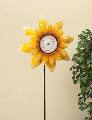 Thermometer Sunflower Spinner Stake