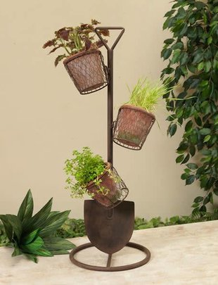 Metal Shovel Planter w/ Pots