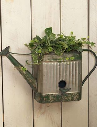 Galvanized Wall Watering Can Birdhouse Planter