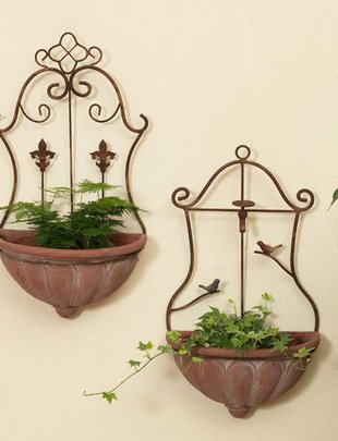 Wall Hanging Planter w/Birds or Fleur de Lis