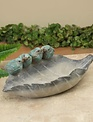 Gray Leaf Feeder with Birds Accent