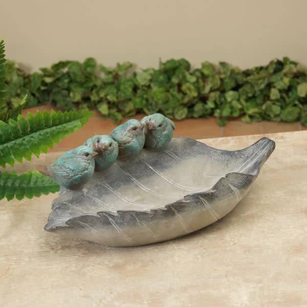 Gray Leaf Feeder with Birds (2 Styles)