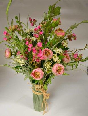 Custom Pink Wildflowers Grass Vase