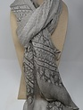 Grey Dotted Embroidered Scarf