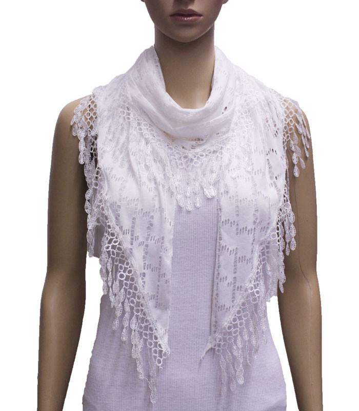 Cutout Houndstooth Lace Scarf