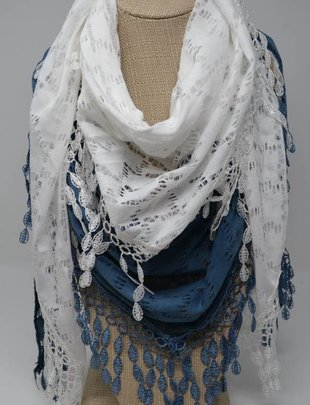 Cutout Houndstooth Lace Scarf (2 Colors)