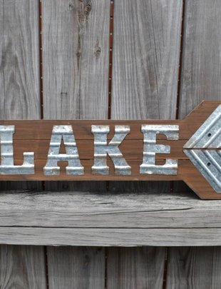 Galvanized Wooden Lake Arrow Sign