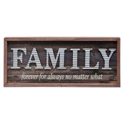 Galvanized Family Framed Sign