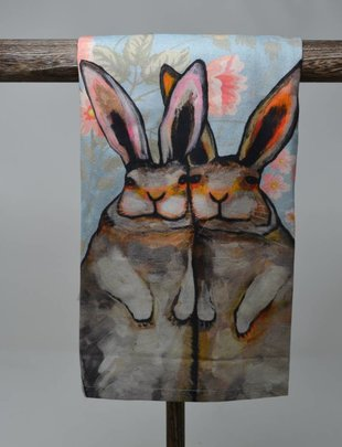 Bunny Friends Floral Towel